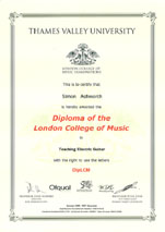 Diploma of the London College of Music in Electric Guitar Teaching